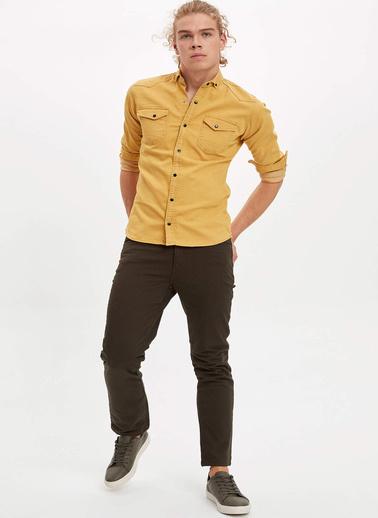 DeFacto Çift Cepli Jean Gömlek Sarı